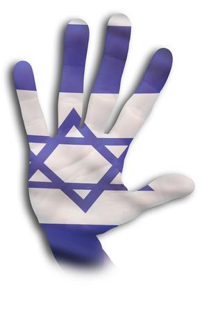 Israeli hand wth the Israel flag on it.