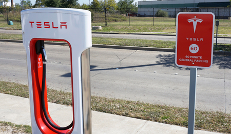 Corsicana,Texas- November 2017,  Tesla Supercharger station with hookups ready for Tesla cars are popping up all across the United States.                              Editorial