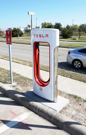 Corsicana,Texas- November 2017,  Tesla Supercharger station with hookups ready for Tesla cars are popping up all across the United States.