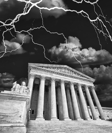 United States Supreme Court building during a storm in black and white. Editorial