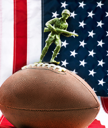 American football protest with American values. Stock Photo