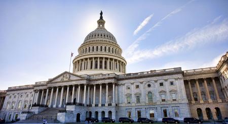 American Capital Building en Washington DC al atardecer.