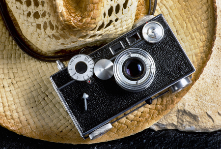 Old style film rangefinder camera made in the 1940s and 50s  sometime called the brick camera.