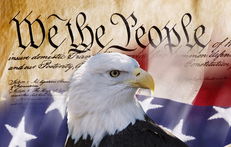 Constitution of America, We the People with bald eagle and American flag.