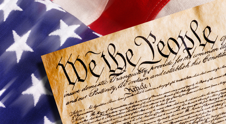 Constitution of America, We the People withAmerican flag.