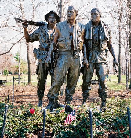 Washington, DC -  Oct,2014 , The Three Soldiers bronze sculpture on the Washington Vietnam Memorial in Washington , DC..
