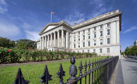 The Treasury Department Building in Washington, DC. Redactioneel