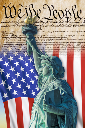 We the People with American flag and Statue of Liberty. Stock Photo