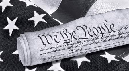 We the People with American flag in black and white.