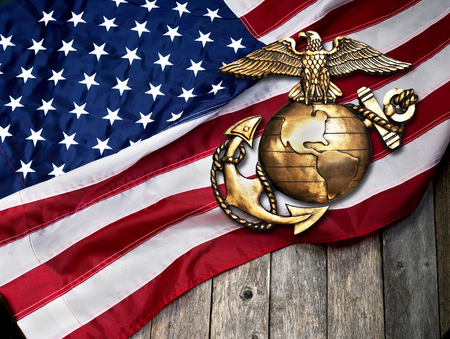 Marine eagle, globe and anchor with American flag background.
