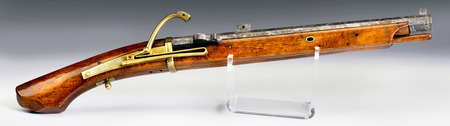 Antique Japanese Bajo-Zutsu Matchlock gun made in the late 18th Century. Was carried by Samurai Horseman. Stock Photo