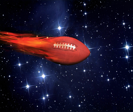 America football flying fast and on fire in outerspace. Stock Photo