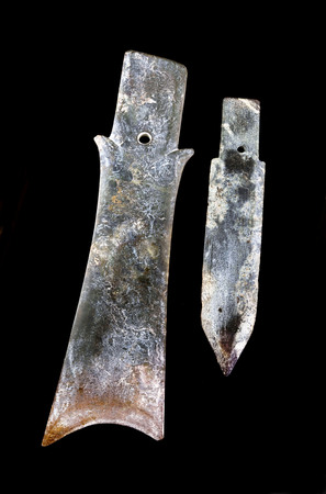 Antique Chinese Jade Kuei knives made in the Zhou Dynasty around 300 BC. Reklamní fotografie