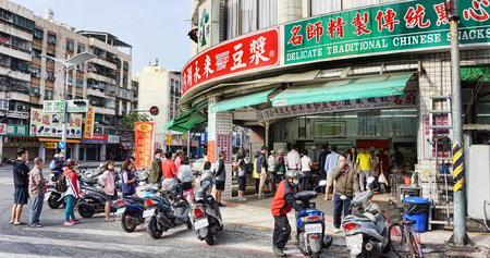 Kaohsiung,Taiwan Dec. 8,2018 - Popular morning restaurant in Kaohsiung,Taiwan, always long lines to get food. Editorial