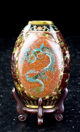 Antique Japanese cloisonne vase made in the Meiji Period around 1890.