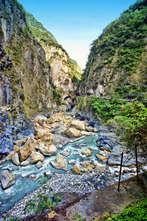 This is the type scene you will see in the canyons and cliffs of Taroko National Park in Hualien County, Taiwan.