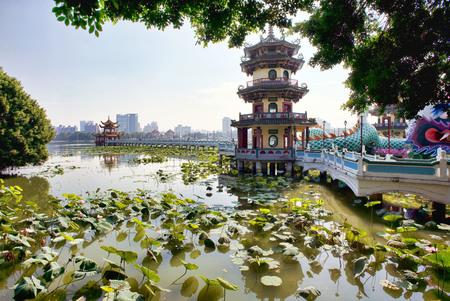 Kaohsiung, Taiwan - Dec.9,2018 - Dragon Pagoda walkway in the Lotus Lake in Kaohsiung, Taiwan.