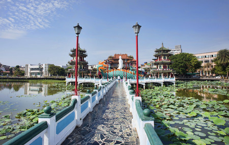 Kaohsiung, Taiwan - Dec.9,2018 - Dragon and Tiger Pagoda walkway in the Lotus Lake in Kaohsiung, Taiwan.