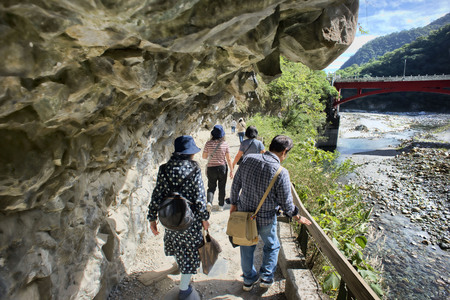 Chiayi County,Taiwan - Dec.3, 2018- Taroko National Park granitemarble walk through in the mountain walk way with breathtaking views. Editorial