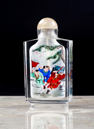 20th Century inside painted Chinese rock crystal snuff bottle.