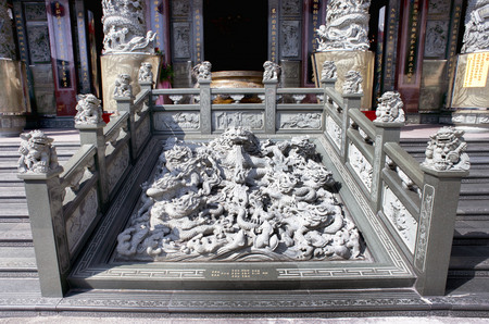 Kaohsiung, Taiwan - Buddhist marble dragon at a temple in Kaohsiung, Taiwan.