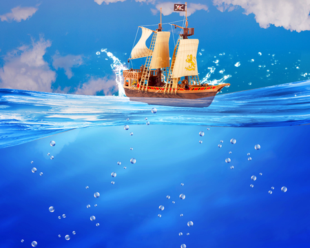 Pirate ship sail the deep blue with room for your type.