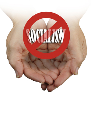 No Socialism in America holding message in hands.