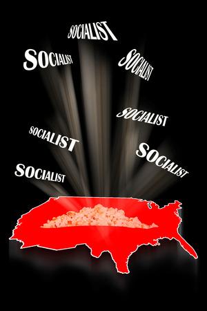 Crazy Red Socialist America Map. 스톡 콘텐츠