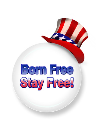 Born free stay free with uncle Sam hat.