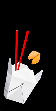 Chinese take-out food with fortune cookie and room for your type. Stock Photo