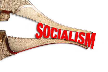 Squeezing Socialism tight with steel  pliers.