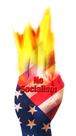 No Socialism hand coming out in burning fire. Stock Photo