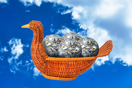 Duck basket full of money balls flying in the air.