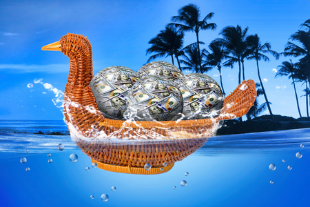 Duck basket full of money balls floating in ocean. Stock Photo