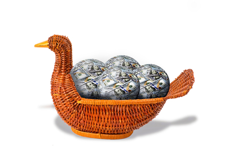 Duck basket full of money balls . Stock Photo