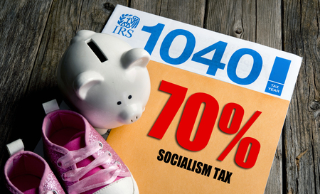 Pay your 70% Socialist tax now.  Stock Photo