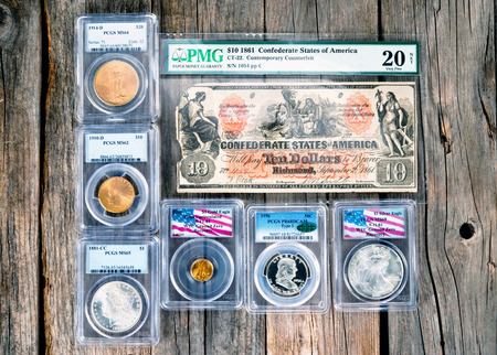 Dallas, Texas - April 12,2019 - A group of graded rare coins for the coin collector. Stock Photo