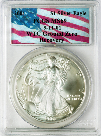 Dallas, Texas - April 12,2019 - A 2001 Silver Eagle coin recovered from the rubble of the World trade Center 911 Ground Zero in the basement of Tower One in New York City.