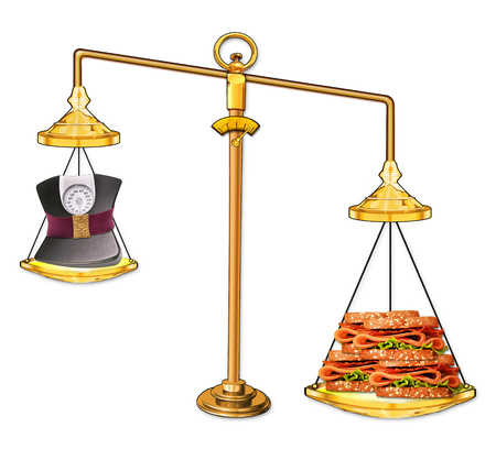 Balance weight scales with heavy sandwich.