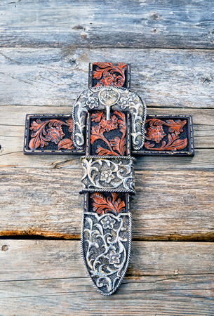 Cowboy prayer cross with room for your type.