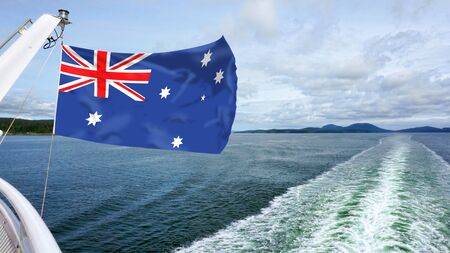 Speed boat with wake and Australia flag waving fast. Imagens