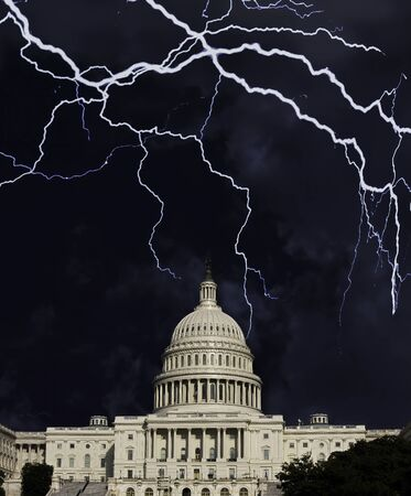 A storm is comming to the American Capital building in Washington DC .