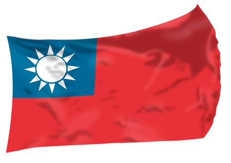 Taiwan flag waving in the wind. Stock Photo