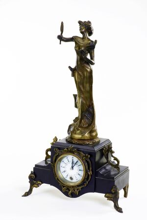 Antique French bronze clock made around the late 1890s. Imagens