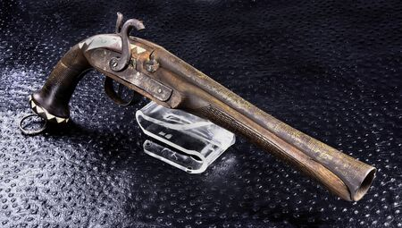 Antique middle eastern blunderbuss pistol made around 1860.