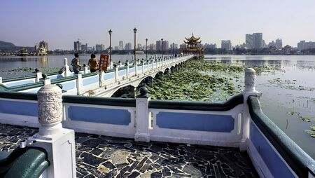 Kaohsiung, Taiwan - Dec.9,2018 - Dragon Pagoda walkway in the Lotus Lake in Kaohsiung, Taiwan.