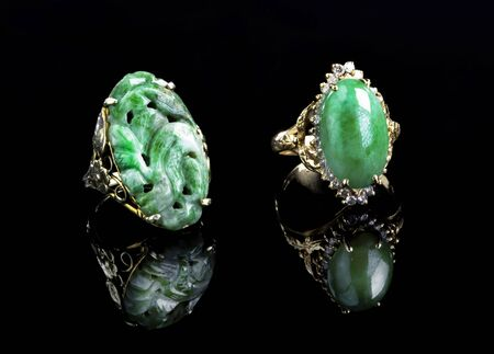 Burmese imperial green jadeite gold rings.
