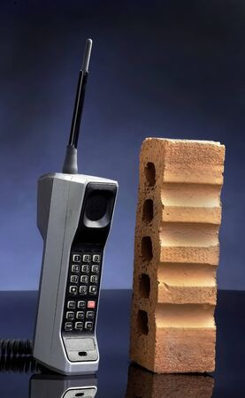 Old cell phone called the brick phone made in the early 1980s.