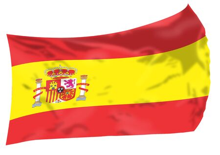 Flag of Spain flying high.