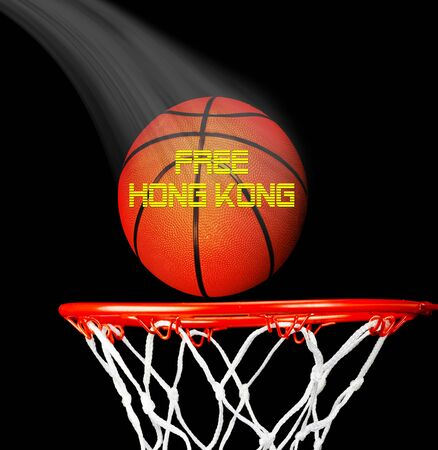 Free Hong Kong pro-independence movement with basketball.